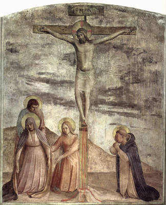 Fra Beato Angelico. Crucifixion with the grieving Saint Dominic. Fresco of the Monastery of San Marco, Florence