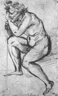 Raphael Santi. A naked man in a wreath