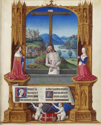 Братья Лимбург. Великолепный Часослов герцога Беррийского. Распятый Иисус с донаторами - герцогом Карлом І и его супругой