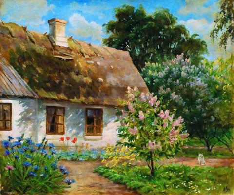 Olga Alexandrovna Romanova. The house is surrounded by blooming lilacs