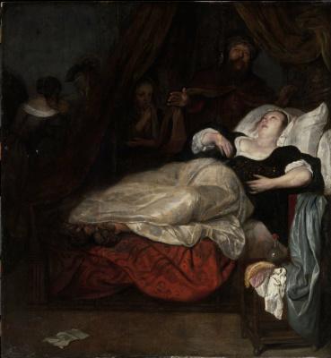 Gabrielle Metsu. A woman in agony. Death Of Sophonisba