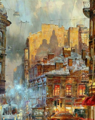 Ivan Efimovich Slavinsky. City at sunset