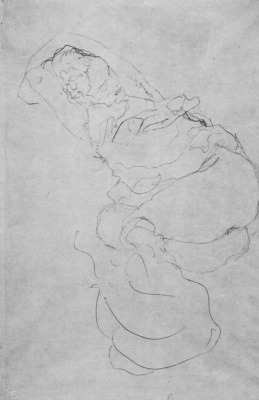 "Gustav Klimt. Reclining semi-Nude with hands clasped behind his head. A sketch for ""virgin"""