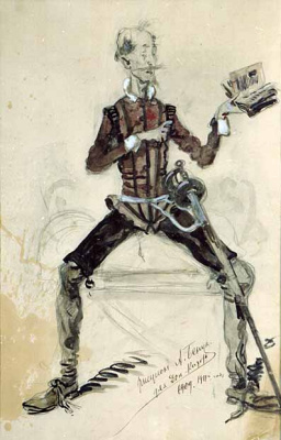 Alexandre Benois. Don Quixote. Costume don Quixote for Chaliapin