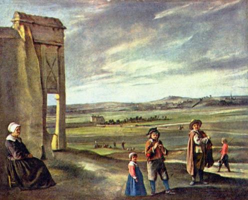 Louis Lenen. Landscape with peasants