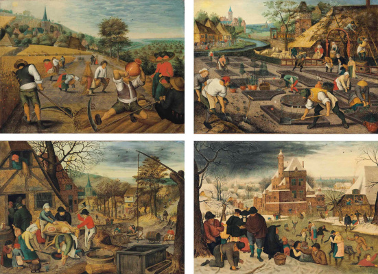Peter Brueghel The Younger. Four seasons. The set of panels
