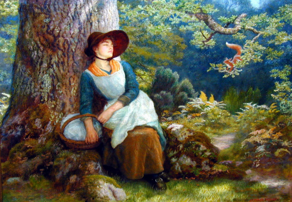 Arthur Hughes. Daytime sleep in the forest
