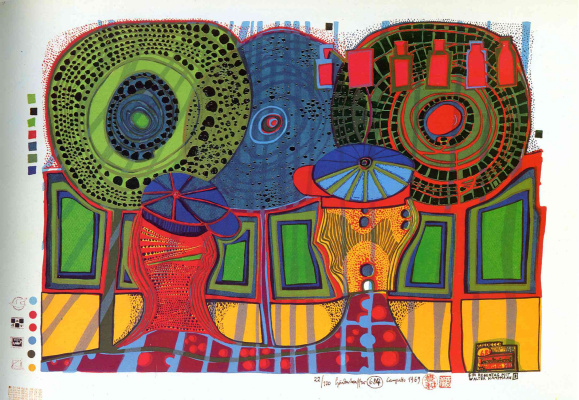 Friedensreich Hundertwasser. Rainy day with Walter Kampmann