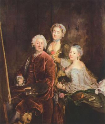 Антуан Пен. Портрет художника с дочерьми перед мольбертом