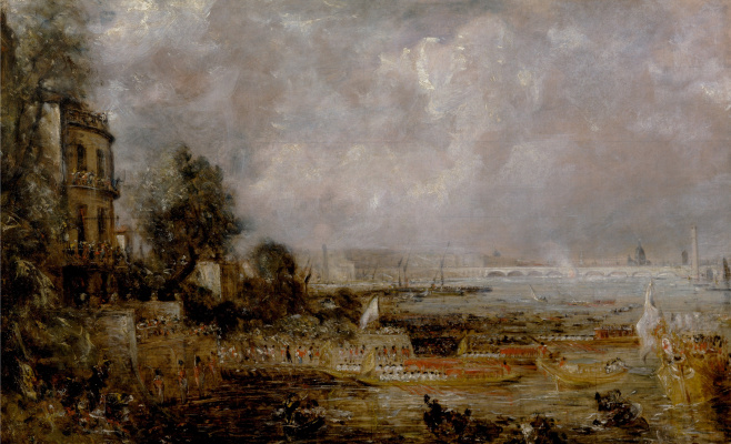 John Constable. The opening of Waterloo bridge on 18 June 1817. Sketch