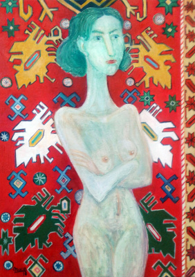 Zakir AHMED Ahmedov. Carpet and girl2018year oil on canvas 70X50cm3000$