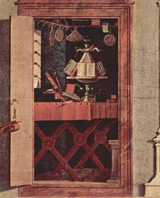 Витторе Карпаччо. Цикл картин капеллы Скуола ди Сан Джорджио Счиавони. Сцена видения св. Августина. Деталь