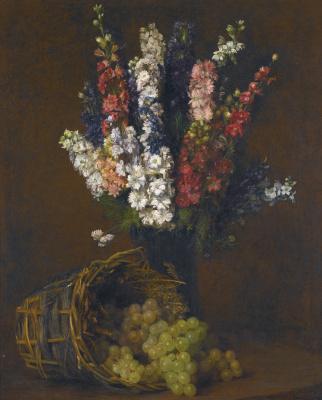 Виктория Дюбург (Фантен-Латур). Ваза с цветами и корзина с белым виноградом