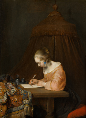 Gerard Terborch (ter Borch). Woman writing a letter