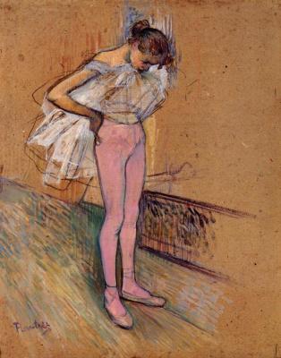 Анри де Тулуз-Лотрек. Танцовщица поправляя колготы