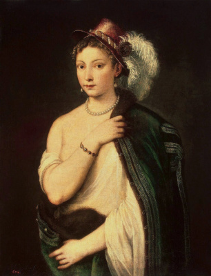 Portrait of a young woman in a hat with a feather
