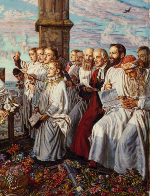 William Holman Hunt. The welcoming ceremony of the month of may, in Magdalen College, Oxford. Fragment II