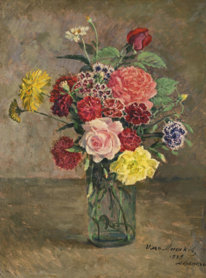 Ilya Ivanovich Mashkov. Still life with roses and carnations in a glass jar