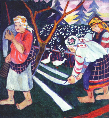 "Natalia Goncharova. The bleaching of linen. From ""Peasant series"""