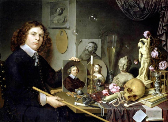 David Bailey. Self-portrait with Vanitas symbols