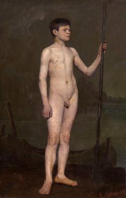 Alexander Nikonorovich Novoskoltsev. Boy with a paddle. 1875
