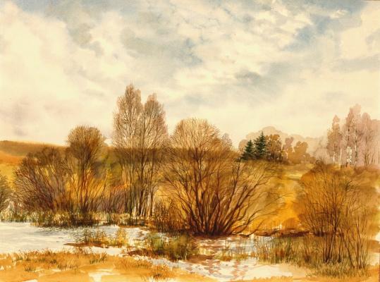 """Yuri Alekseevich Golenkov. """"Late autumn suburbs"""""""