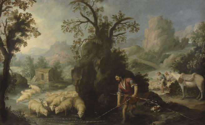 Бартоломе Эстебан Мурильо. Иаков кладёт прутья с нарезкой перед скотом Лавана