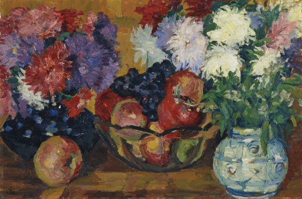 Giovanni Giacometti. Still life with asters, apples and grapes