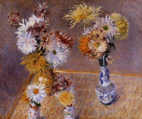Gustave Caillebotte. Four vases of chrysanthemums