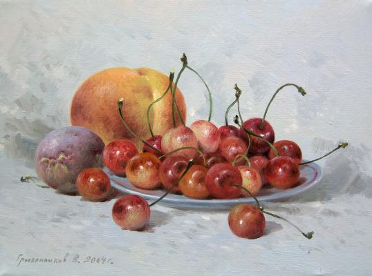 Vasily Ivanovich Gribennikov. Still Life with Sweet Cherry