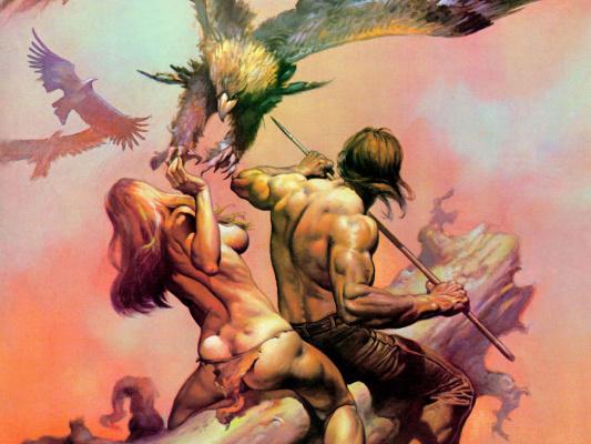 Boris Vallejo (Valeggio). Attack of the birds
