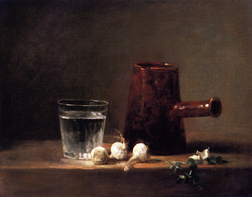 Jean Baptiste Simeon Chardin. Still life with glass Cup and coffee machine