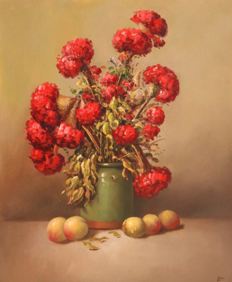 Savely Kamsky. Red bouquet in a green vase