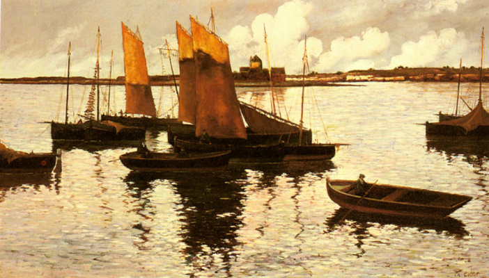 Charles Cottet. Sunset over the sails