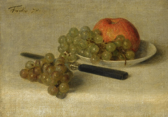 Анри Фантен-Латур. Натюрморт с яблоком и виноградом