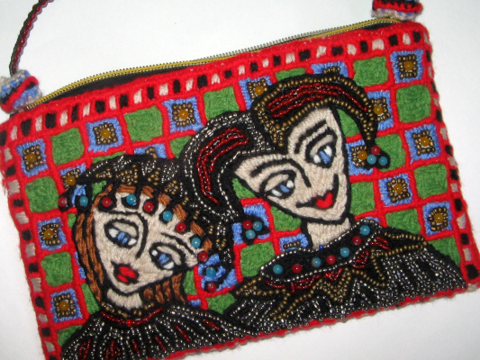 "Tatyana Turanova. Theater art handbag ""Harlequin and Columbine"""
