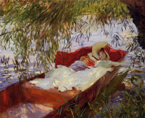 John Singer Sargent. Two women asleep in a boat under the willows