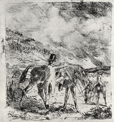Edgar Degas. Sitting down on a horse