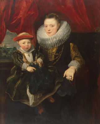 Anthony van Dyck. Portrait of a young woman with a child
