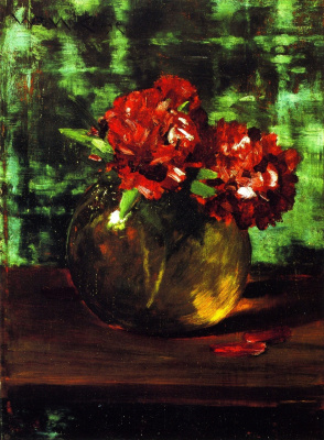 William Merritt Chase. Still life with red flowers on a green background