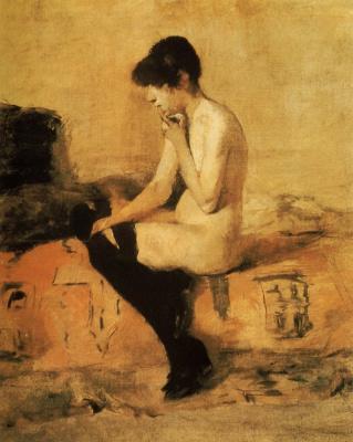 Анри де Тулуз-Лотрек. Обнаженная, сидящая на диване