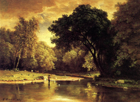 George Innes. The fisherman at the stream