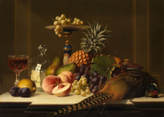 Johann Wilhelm Preyer. Large fruit still life with pheasant and a glass of wine.