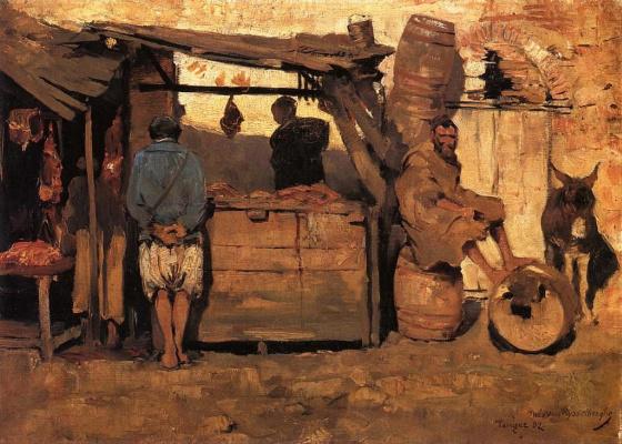 Theo van Rysselberghe. Moroccan butcher shop