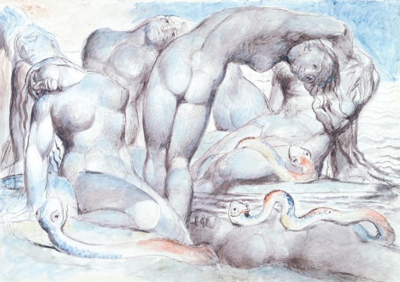 William Blake. The punishment of the thieves. Illustration to the divine Comedy of Dante