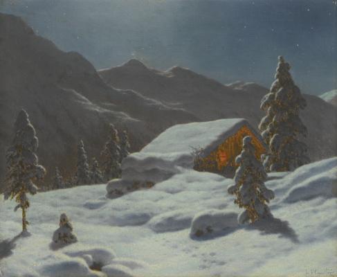 Иван Федорович Шультце. Зимний пейзаж в лунном свете
