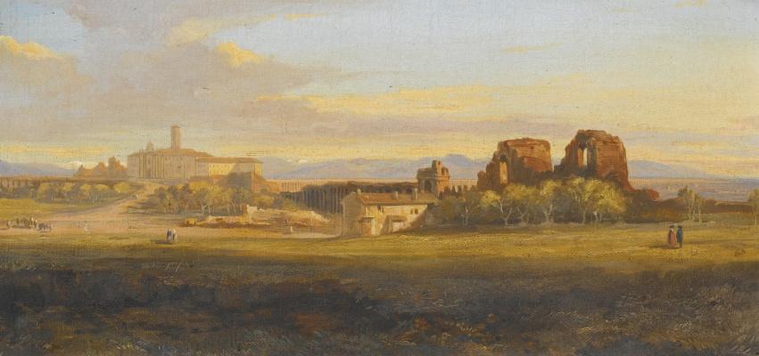 Эдвард Лир. Campagna: villa and aqueduct in Rome