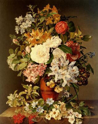Полина Куделка-Шмерлинг. Натюрморт с фруктами и цветами