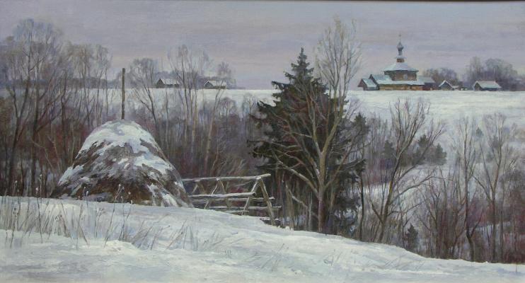 Oleg Borisovich Zakharov. In the snows of the Pskov region.