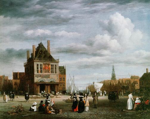 Jakob van Isaacs Ruisdael. Dame Square in Amsterdam